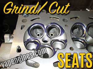 Grind Cut seats during cylinder head Valve Job.  Cylinder head repair machine shop in Los Angeles.