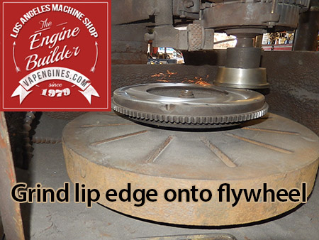 Grind recessed edge onto flywheel