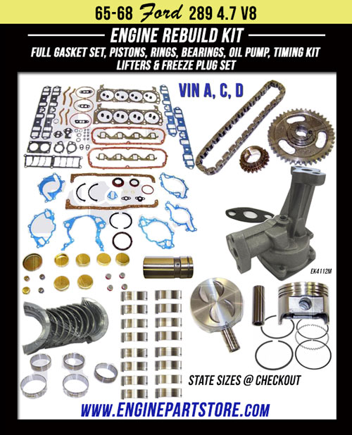 65-68 ford 289 engine rebuild kit