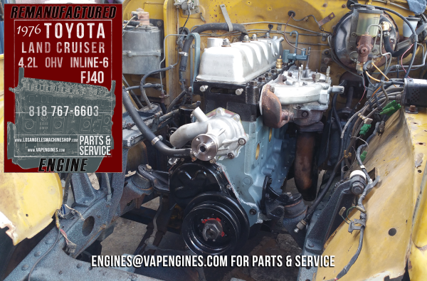 long block engine install Toyota FJ40 4.2