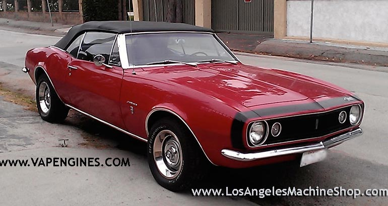 1967 Chevy Camaro convertible, red and black.