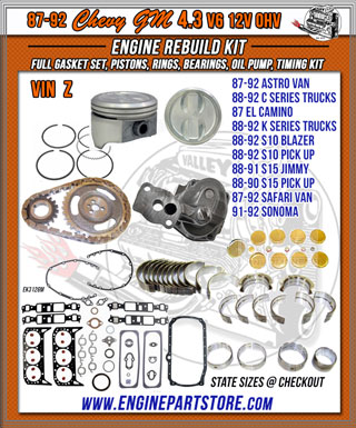 87-92 Chevy GM 4.3 engine rebuild kit