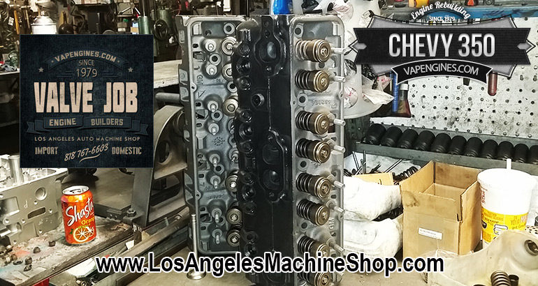 Chevy 350 cylinder heads during a Valve Job.
