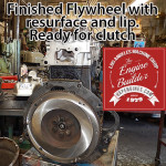 resurfaced flywheel on Toyota 20R long block