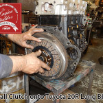 attach clutch onto toyota 20r long block