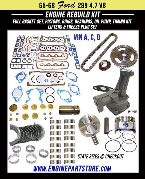 65-68 ford 289 engine rebuild kit