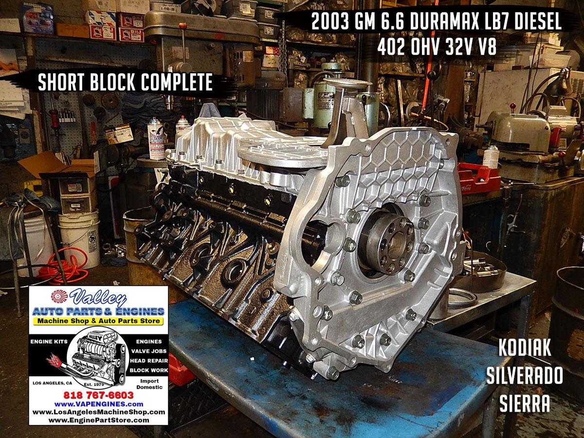 03 gm gmc 6.6 lb7 duramax diesel short block rebuild