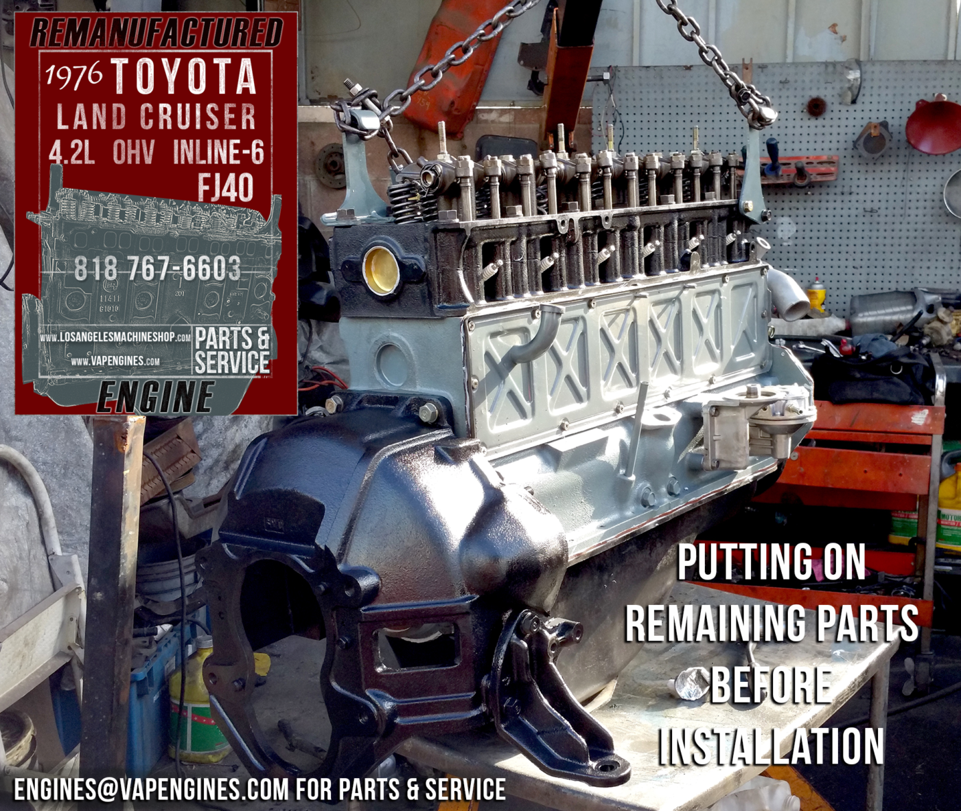 76 Toyota Land Cruiser FJ40 4.2 Engine Rebuilding ...