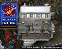 Rebuilt long block Datsun 1600 engine