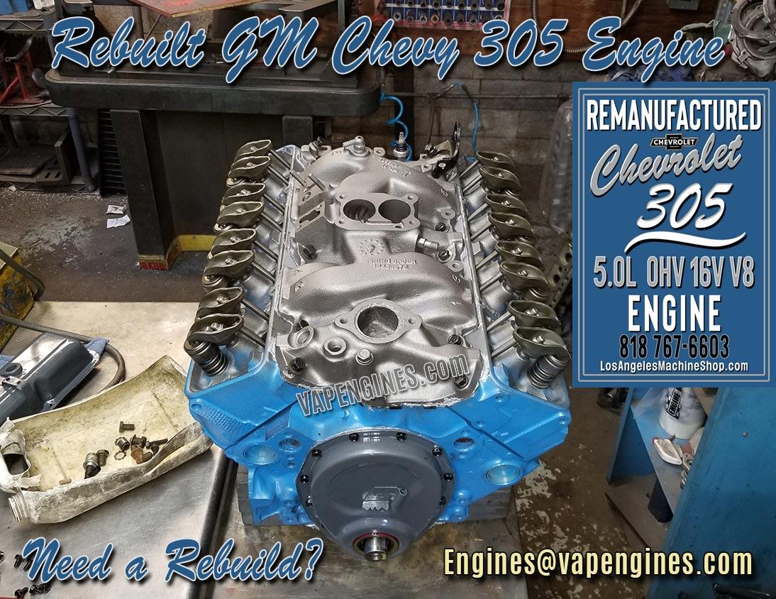 Gm Chevy 305 Engine Rebuild Auto Machine Shop Rebuild Service
