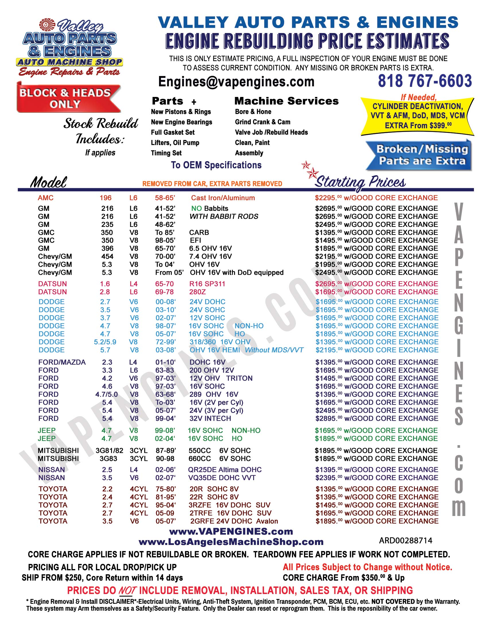 Engine Rebuild Cost Price Estimate Sheet